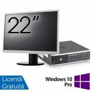 Pachet Calculator HP 8300 USDT, Intel Core i3-3220 3.30GHz, 8GB DDR3, 120GB SSD, DVD-RW + Monitor 22 Inch + Windows 10 Pro