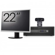Pachet Calculator HP 800 G2 SFF, Intel Core i5-6500 3.20GHz, 8GB DDR4, 240GB SSD + Monitor 22 Inch + Webcam + Tastatura si Mouse